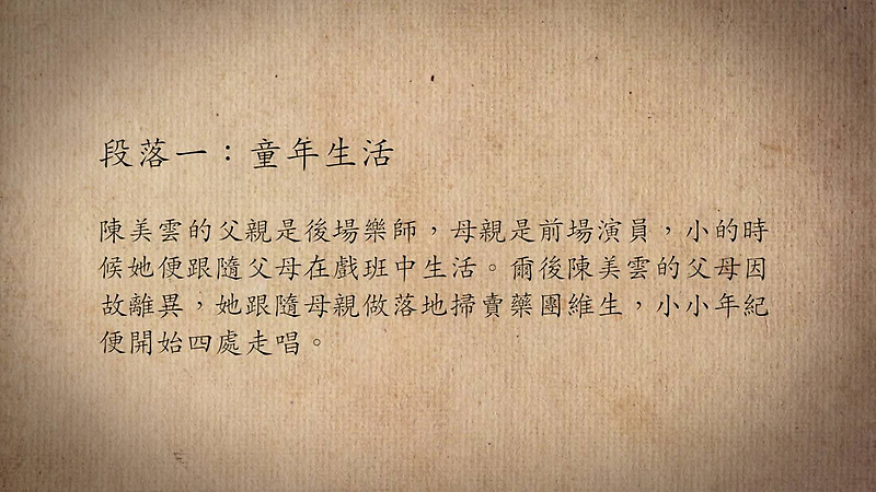 技藝.記憶-傳統藝術藝人口述歷史影像紀錄計畫-陳美雲段落1影片封面