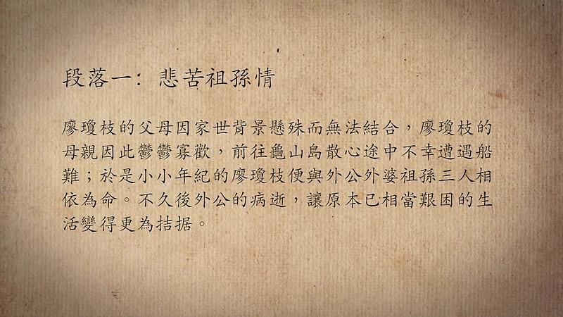 技藝.記憶-傳統藝術藝人口述歷史影像紀錄計畫-廖瓊枝段落1影片封面