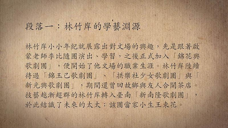技藝.記憶-傳統藝術藝人口述歷史影像紀錄計畫-林竹岸與王束花段落1影片封面